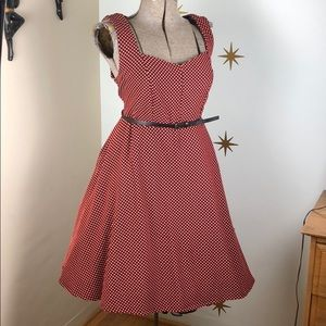 Black peach polka dot swing dress pinup